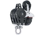 Harken HK 2619 Carbo Ratchetblock dreifach 40mm mit Hundsfott, Harken 29mm Block und Harken Carbo-Cam Klemme